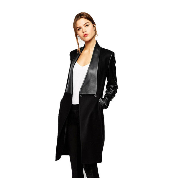 Faux Leather Contrast Winter Jacket