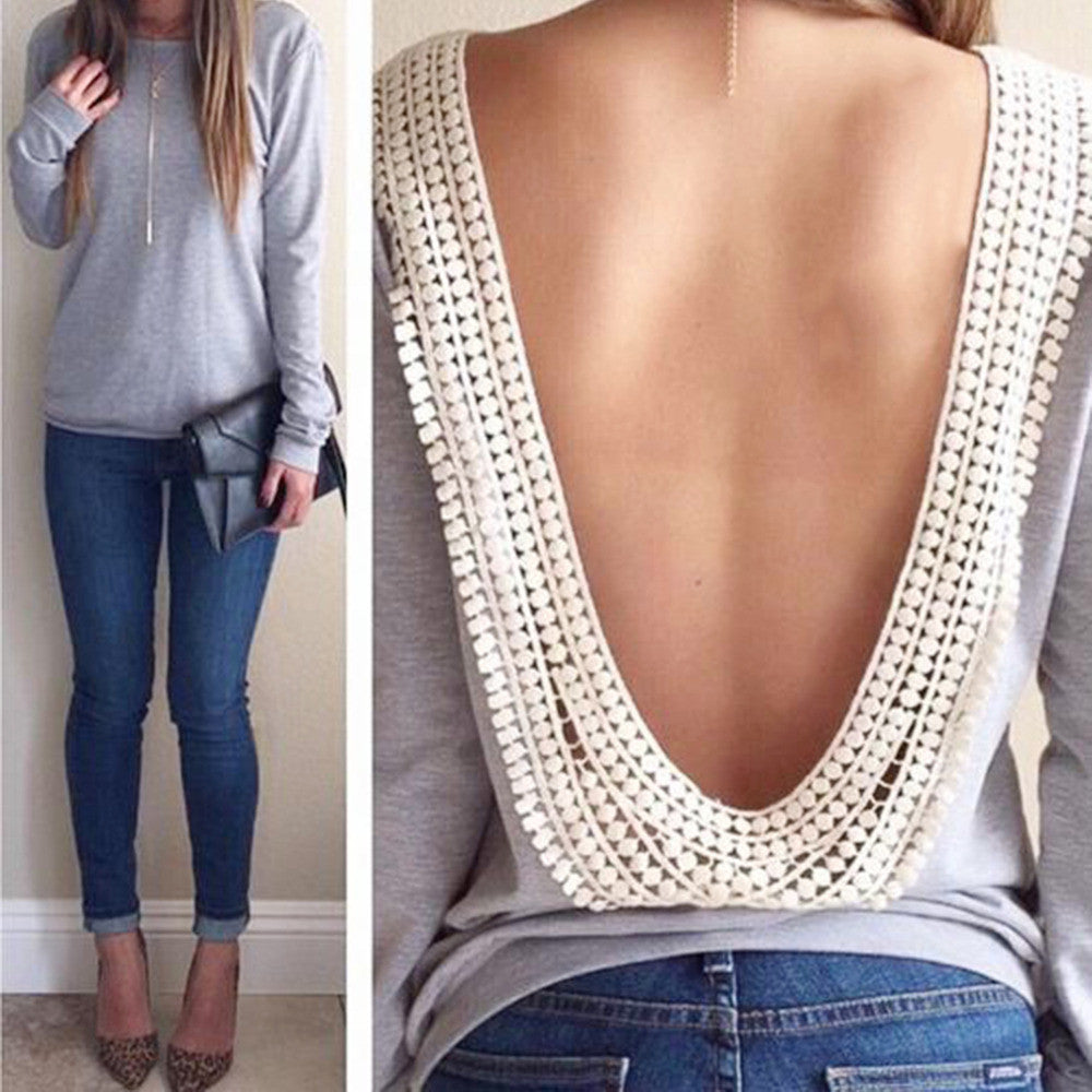 Lace Open Back Tops