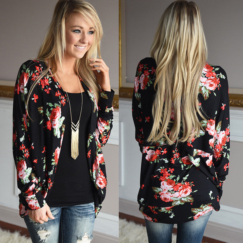 Women Cardigan Autumn Floral Print Long Sleeve Kimono
