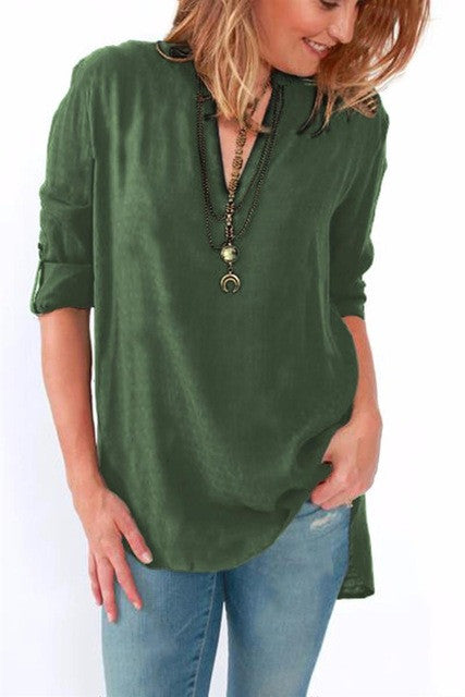 Solid V Neck Tunic Tops