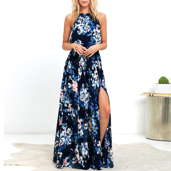 Chiffon Floral Printed Side Split Maxi Dress