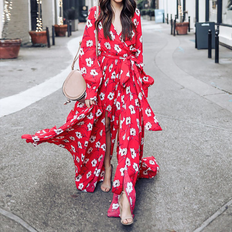 Floral Printed V Neck Maxi Dress