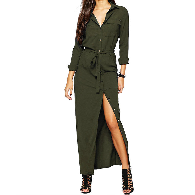 Front Button Waist Tied Long Shirt Dress