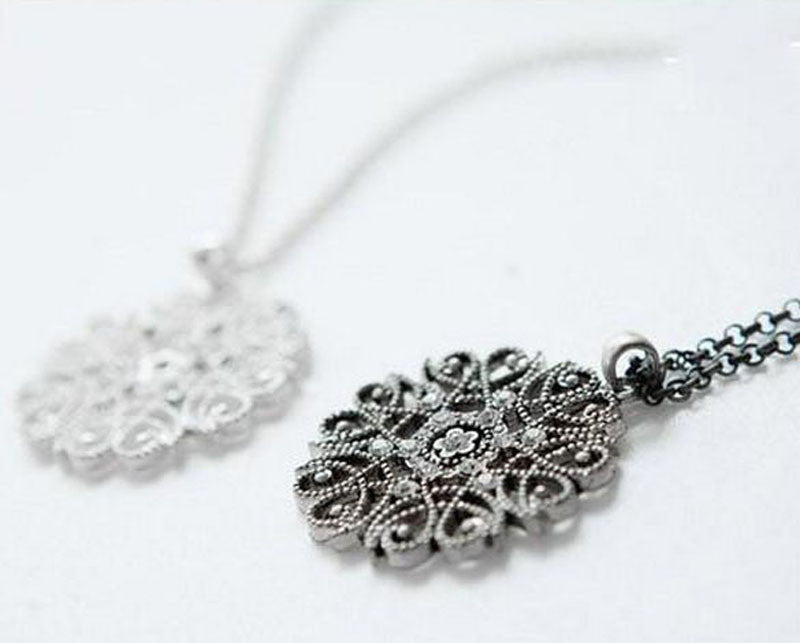 Crystal Flower Long Necklace