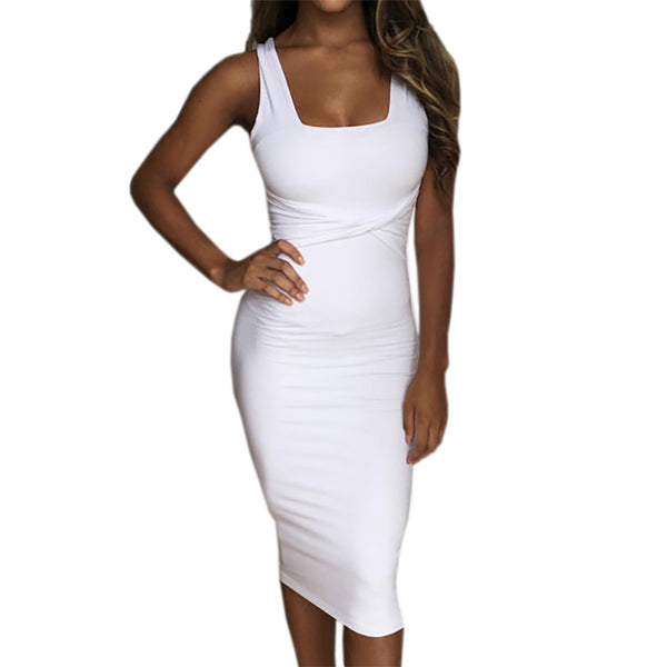 Bodycon Dress Scoop Neck Sleeveless Dress