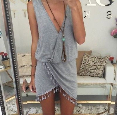Asymmetrical Tassel Dress