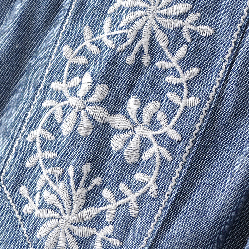 Embroidery Sleeveless Denim Tops