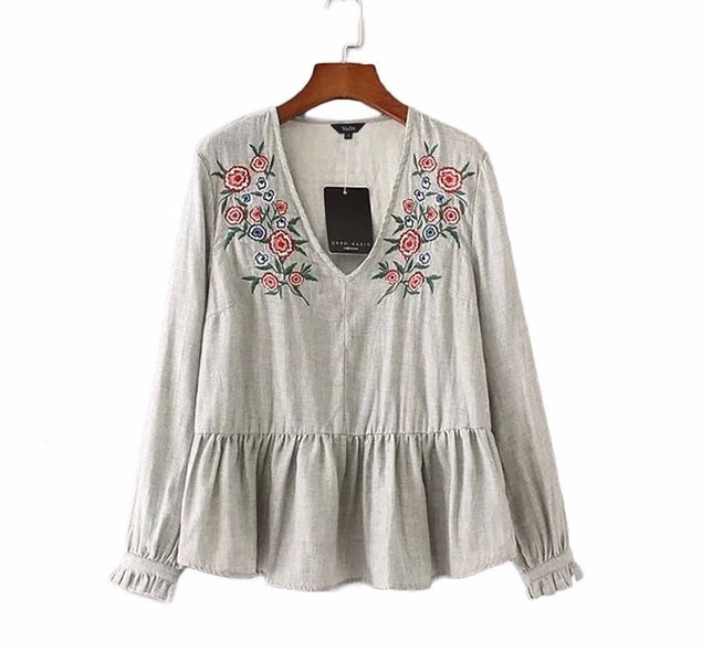Bottom Pleated Details Blouse