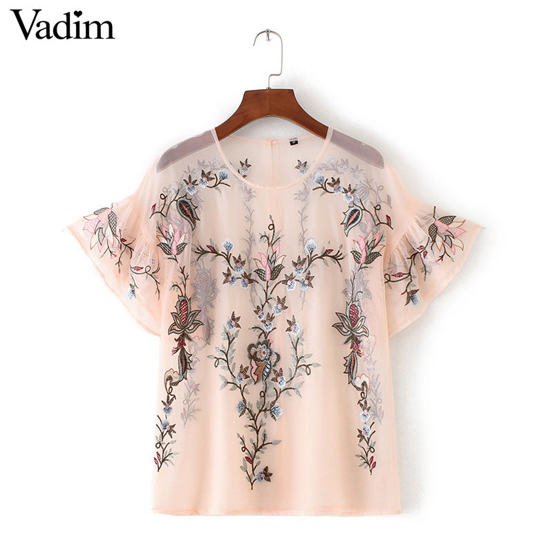 Flower embroidery Ruffles Mesh Blouse