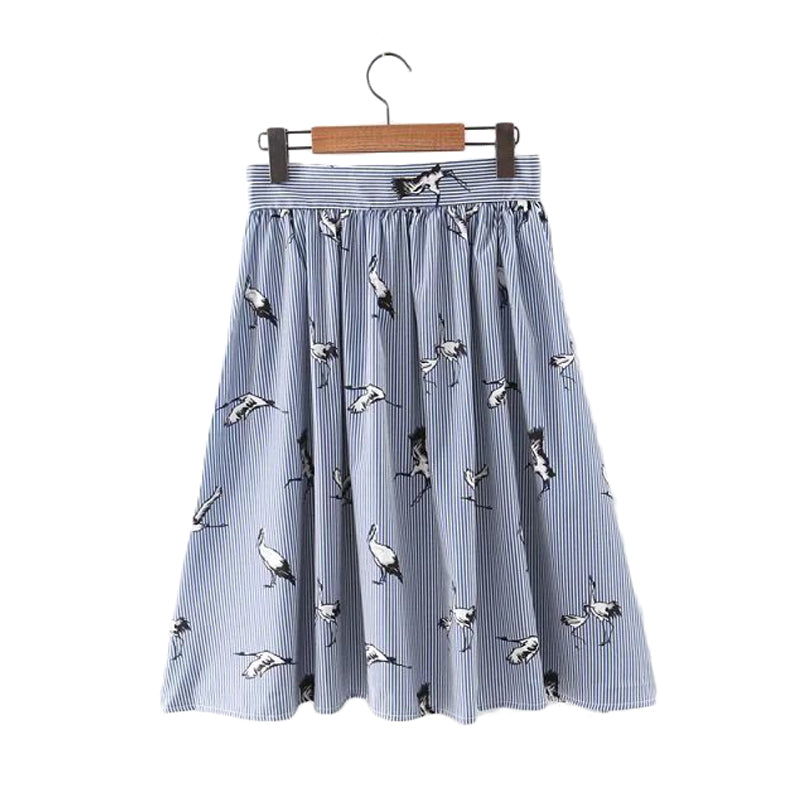 Birds Print Mid-calf striped skirts open stitch buttons design summer casual streetwear skirts BSQ476