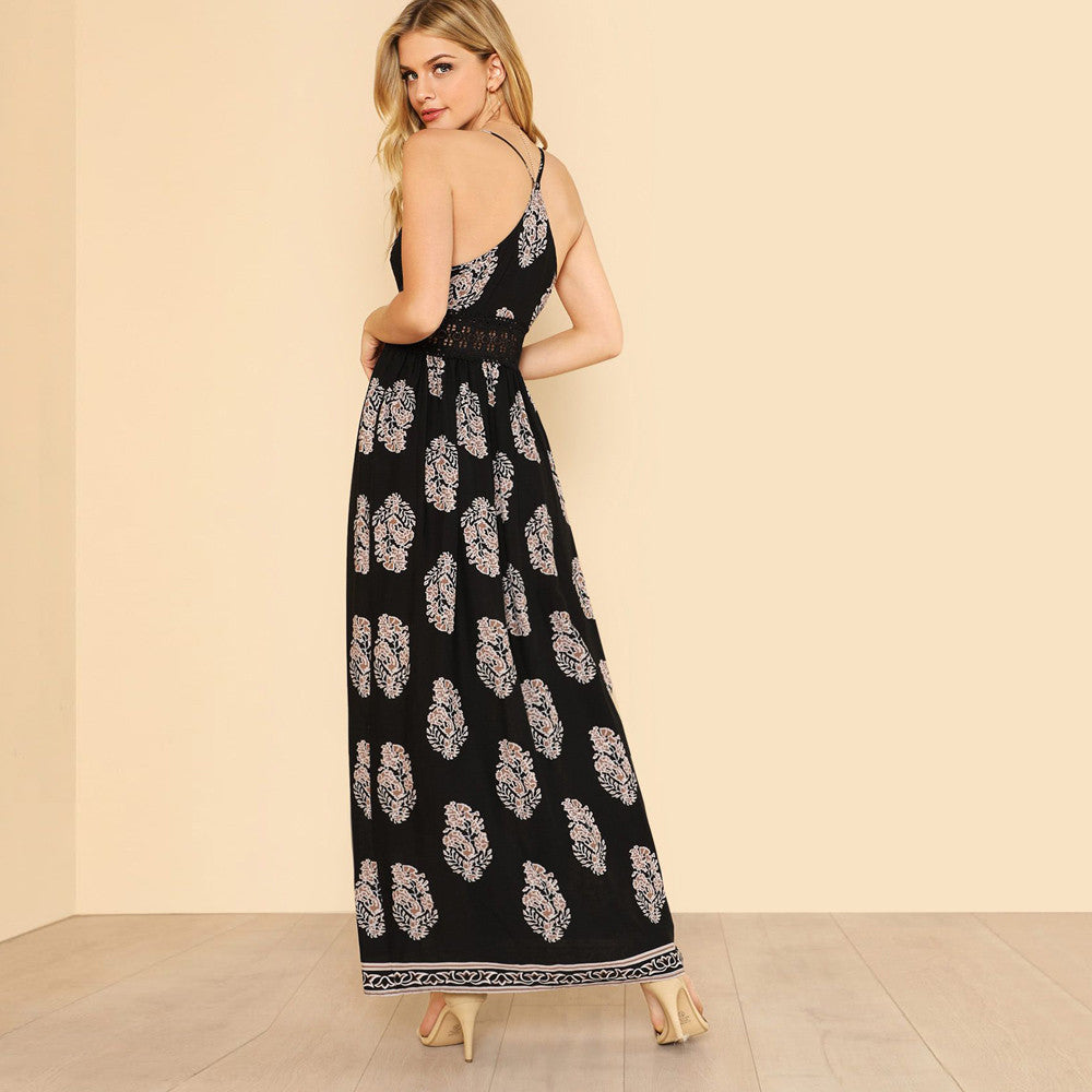 Split Front Lace Details Maxi Dress