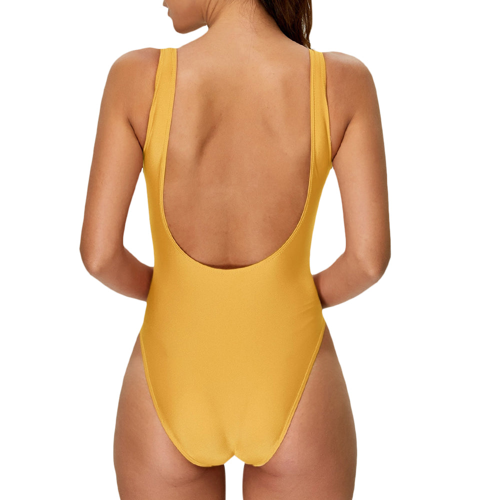 High Cut Backless One Piece SwimSuit