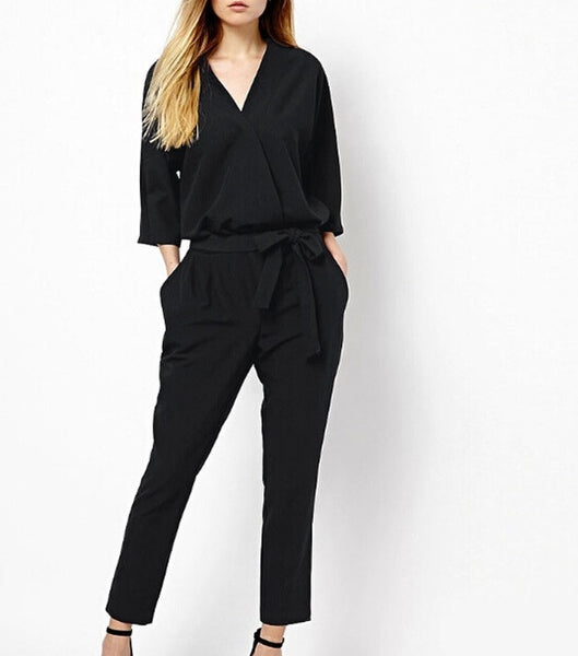 Quarter Sleeve V Neck Jumpsuits