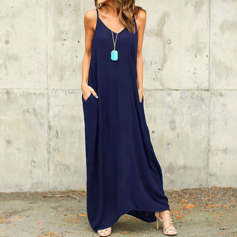 V Neck Sleeveless Maxi Dress Plus Size