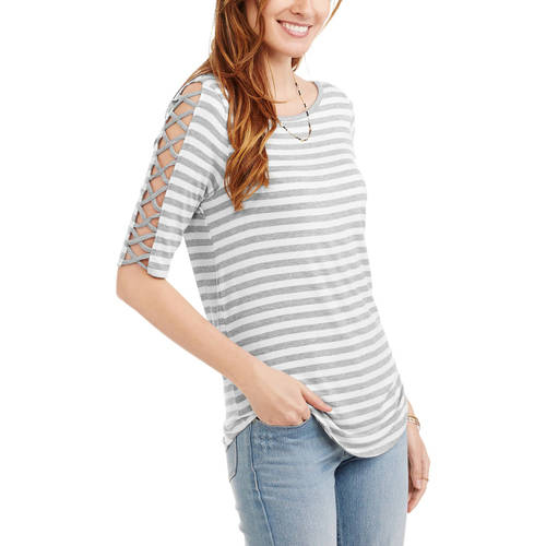 3/4 Sleeve Boatneck Tunic With Lace Up Detail