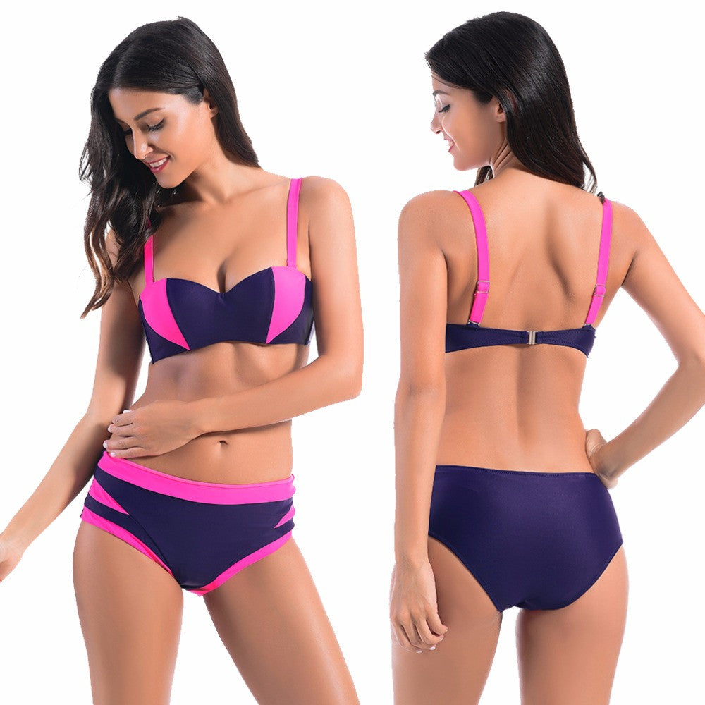 Colorblock Pushup Bikini Set