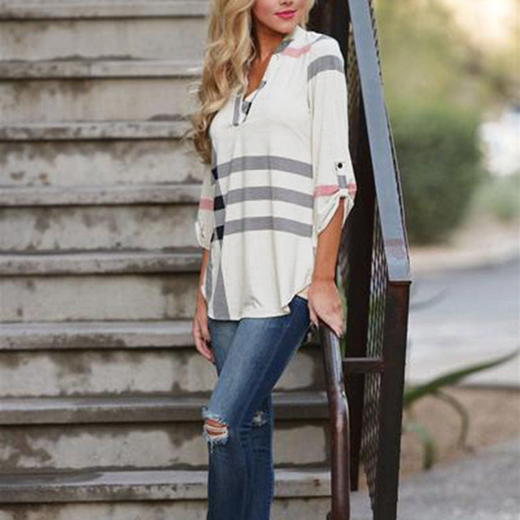Plaid V Neck 3/4 Sleeve Casual T-shirts Pullover Tops