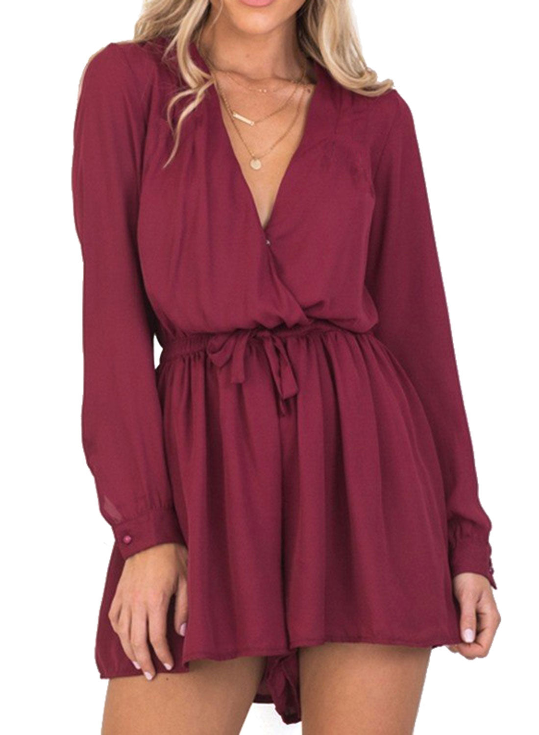 Long Sleeve Cross V Neck Elastic Wasit Romper