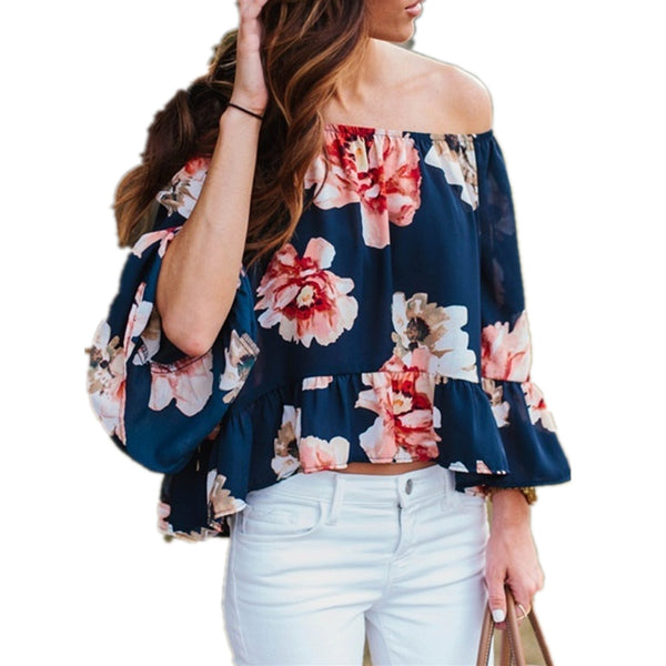 Cold Shoulder Print Chiffon Blouse