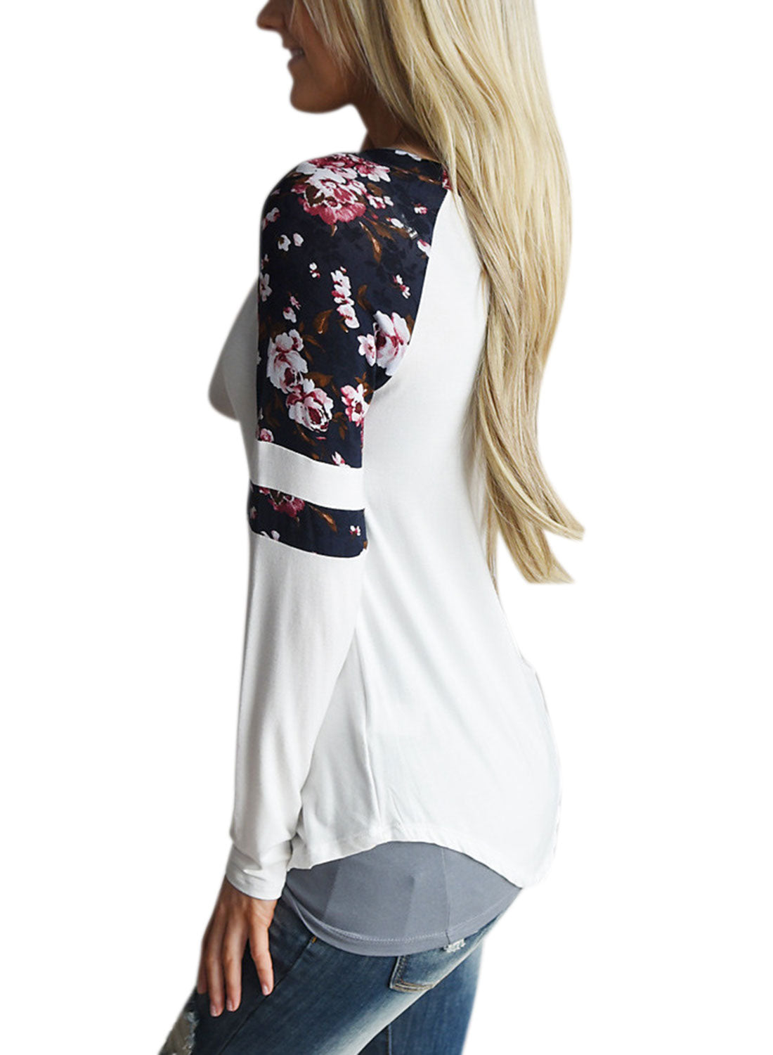 ZXZY Women Crew Neck Floral Print Long Sleeve Tops