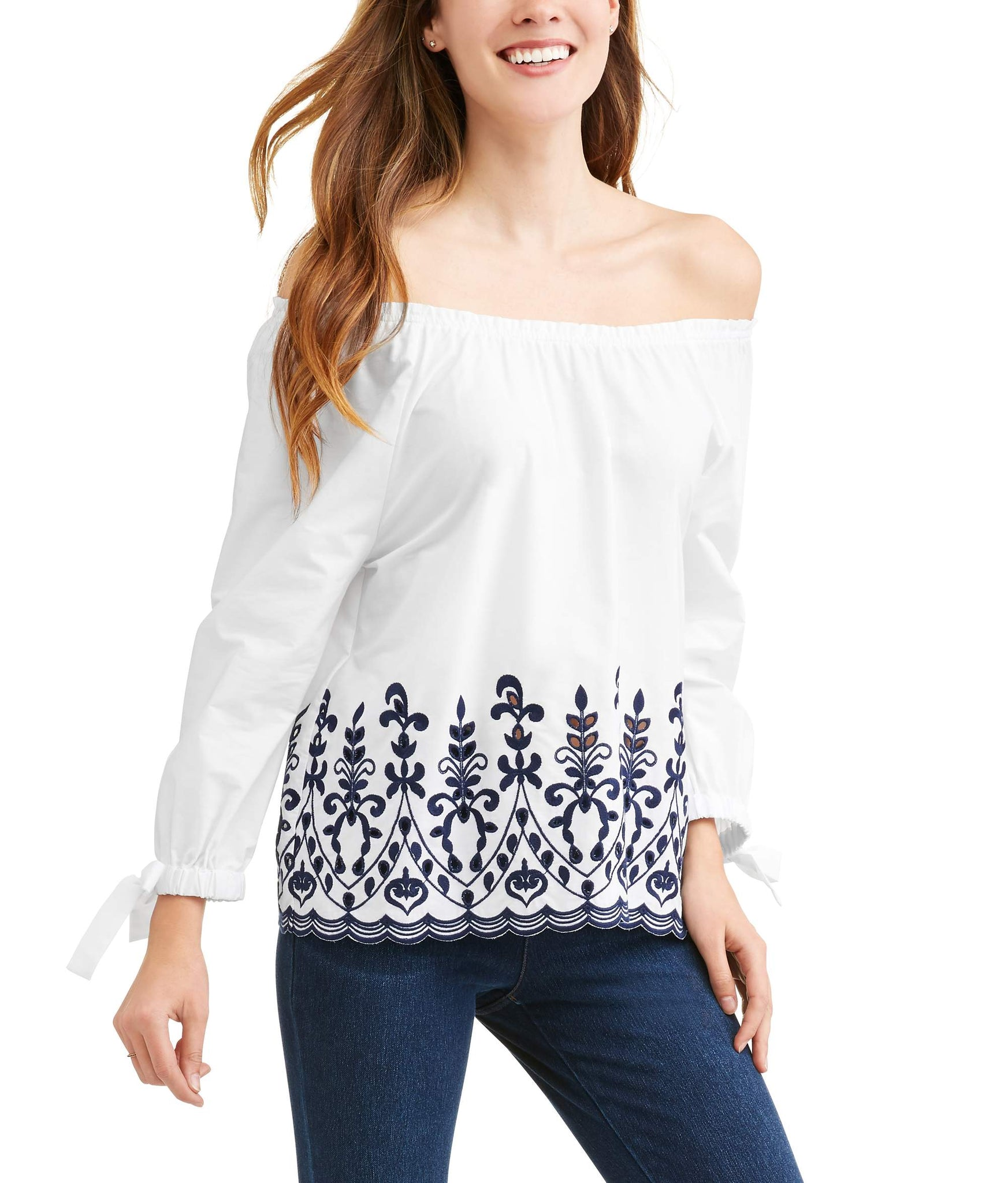 Women's Embroidered Tie Sleeve Top
