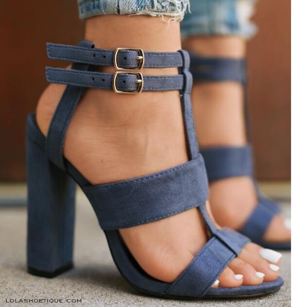 Chunky High Heels Summer Ankle Strap Sandals