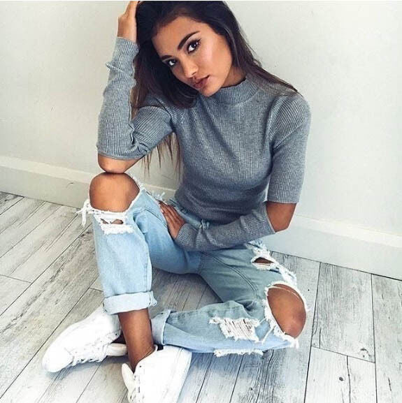 Cutout Elbow Sweater
