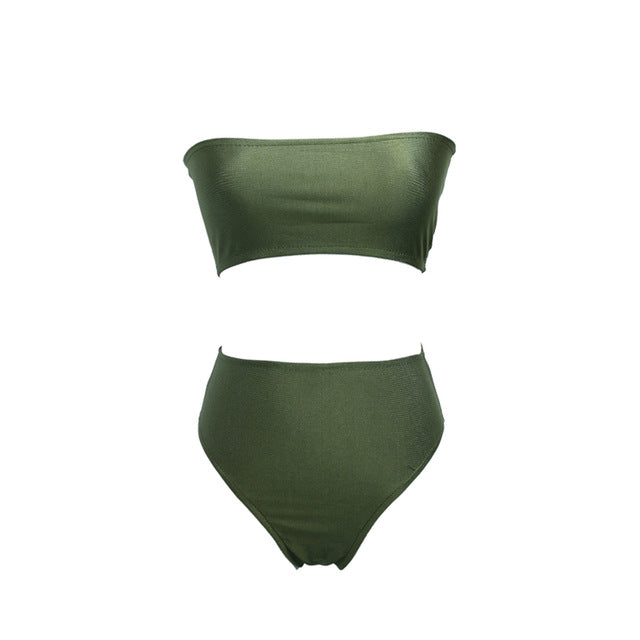 Bandeau High Waist Strapless Bathing Suit