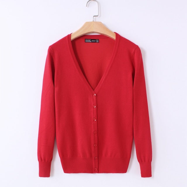 Knitted Cardigan Long Sleeve with V-Neck