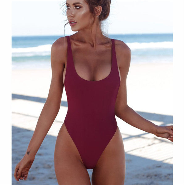 One Piece Solid Backless Swimwear