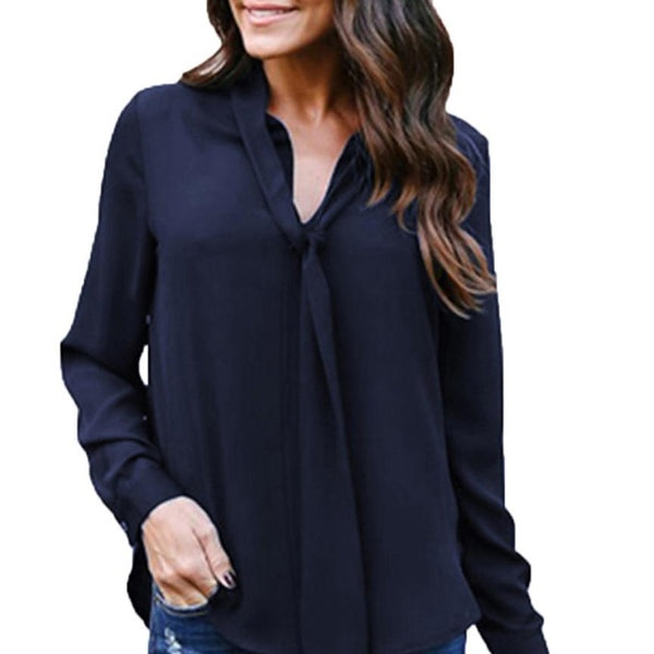 Solid Long Sleeve V-Neck Tie Chiffon Shirt