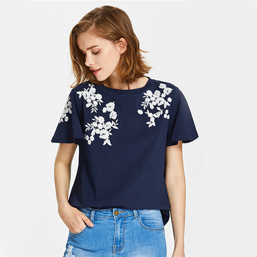 Embroidery Floral Tee