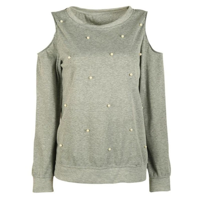 Long Sleeve T-Shirts with Pearl Beading