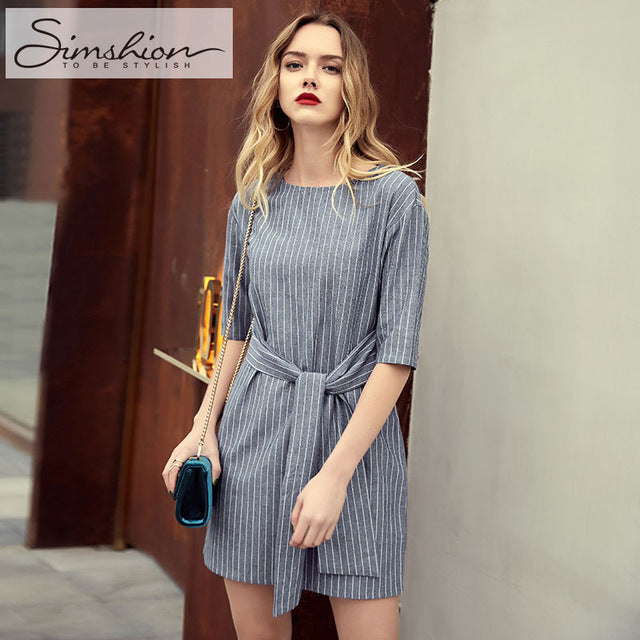 Casual Striped Summer Short Sleeve Dresse