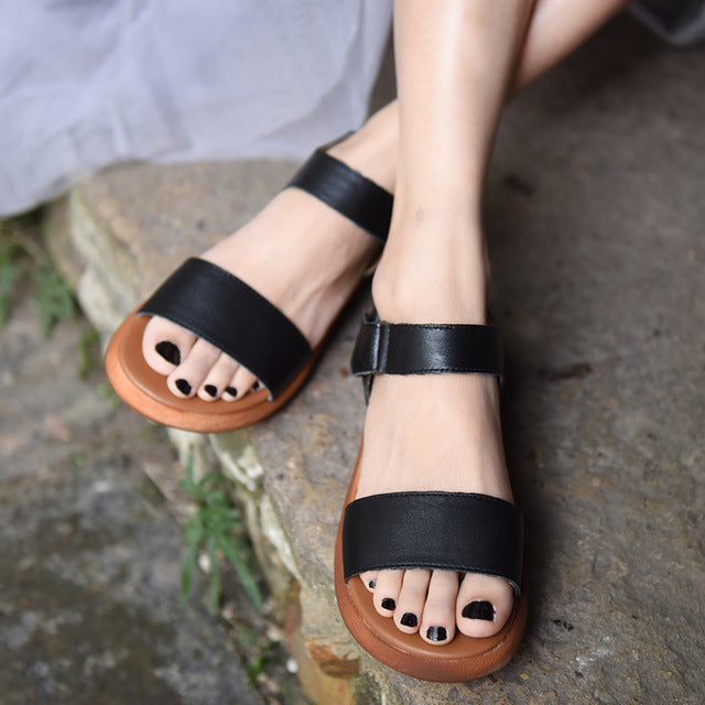 Thick Sole Leather Sandals