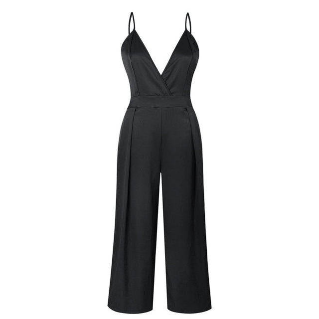 V Neck Backless Strap Jumpsuit