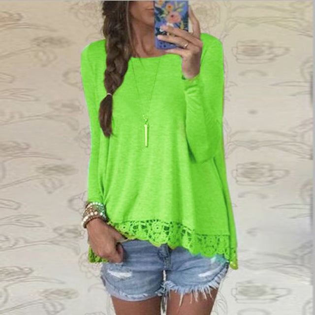 Casual light Tunic Shirt with Irregular Hem Lace