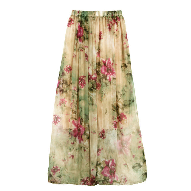 Chiffon Pleated Long Maxi Boho Elastic Waist Skirt