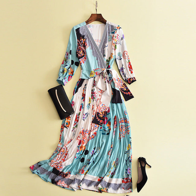 Boho Dress with 3/4 Sleeve and V Neck Floral Print