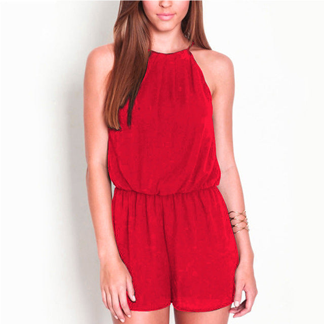 Sleeveless Halter Neck Rompers