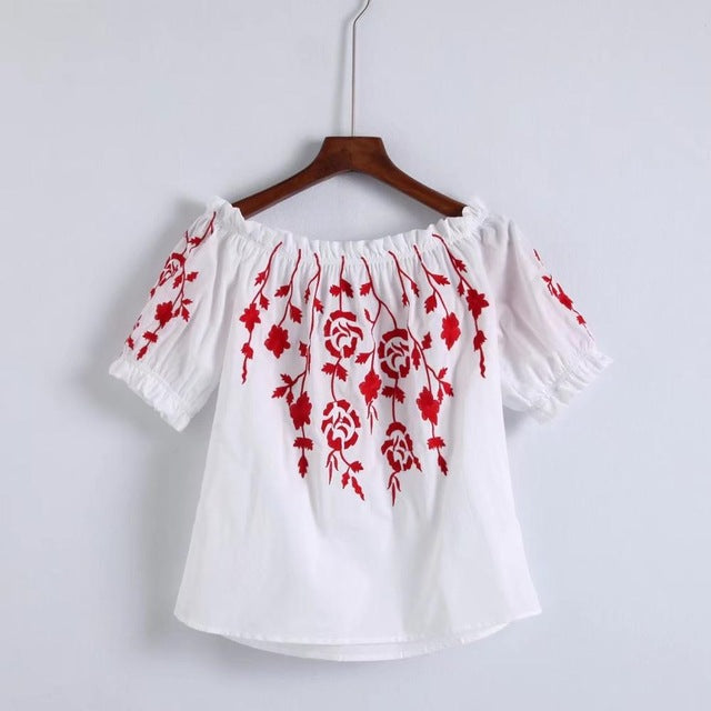 Off Shoulder Red Floral Embroidery Blouse