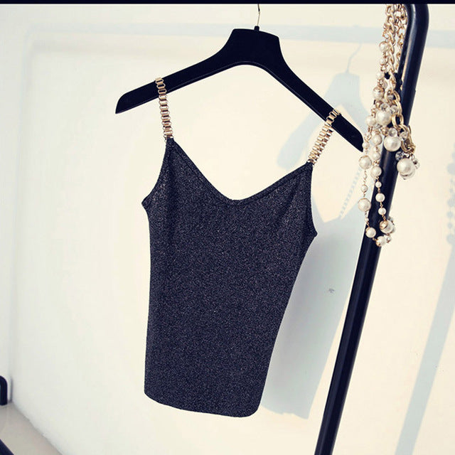 V-Neck Knitted Tank with Metal Strap Shiny Glitter Top