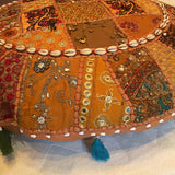 "28"" Round Brown Floor Pillow Cushion with Embroidered Patchwork"