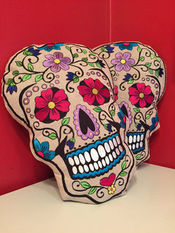 "FREE SHIPPING! Sugar Skull ""Dia de los Muertos"" Pillow (Purple Flower)"