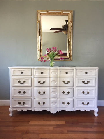 White French Provincial Mid Century Dresser