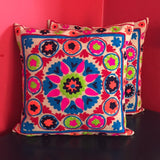 Mexican Flower Embroidered Handmade Pillow Cover