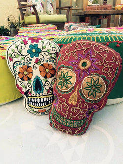 "FREE SHIPPING! White Sugar Skull ""Dia de los Muertos"" Decorative Pillow"