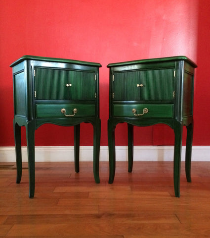 Set of Dark Emerald Vintage  Mid Century Nightstands Bedside Tables