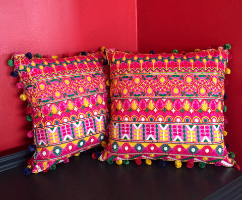 Peruvian Style Decorative Pink Pillow Cover