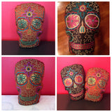 "FREE SHIPPING! Sugar Skull Beaded ""Dia de los Muertos"" Decorative Pillows"